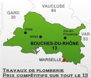 Nos villes des Bouches du Rhône pour vos travaux de plomberie.